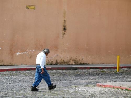 man walking, street crossing