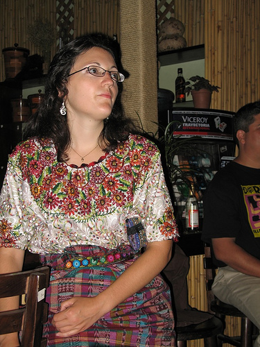 Tourist with indigenous corte