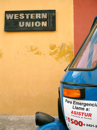 Western Union Sign in Antigua Guatemala