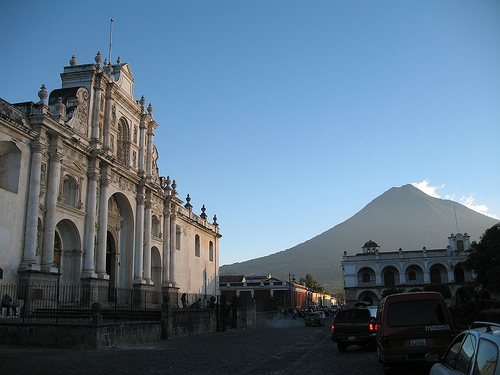 Cathedral and Volcán de Agua