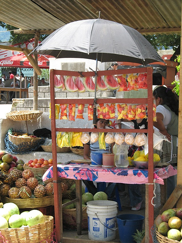 Fresh Fruits Stand at the San Pedro Las Huertas Fair