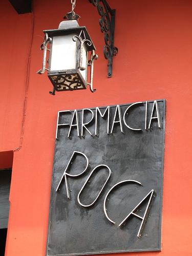 Farmacia Roca Sign in La Antigua Guatemala