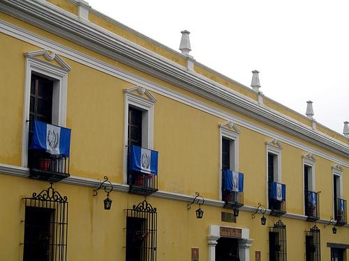Guatemalan Flags in Balconies