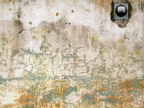 Old Wall with Electric Meter Desktop Wallpaper
