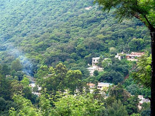 Window view of Mountains around La Antigua Guatemala