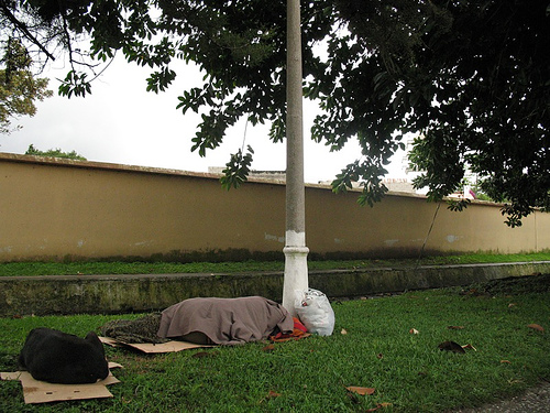 Homeless and Dog in La Antigua