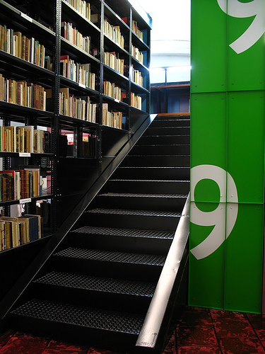 Stairway to the Mezzanine of Library at Compañí­a de Jesús Building