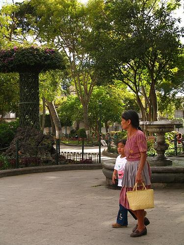 Grandma and Granddaugther doing mandados