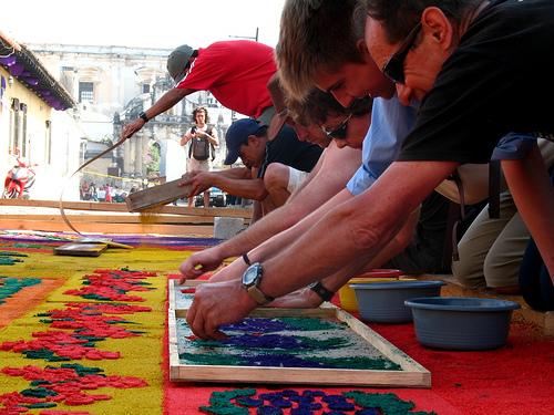 Gringos Making a Holy Week Carpet in La Antigua Guatemala