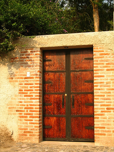 Old-looking Wood and Metal Door in La Antigua Guatemala