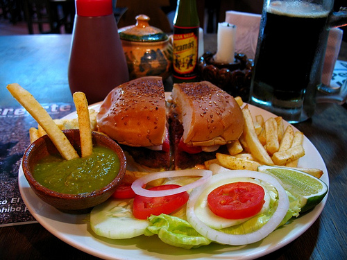 Beer & Hamburger Combo from Flan Antigüeño