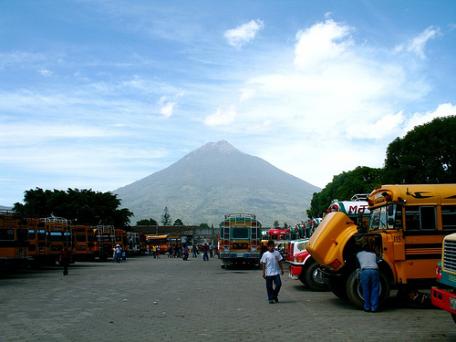 Chicken Bus Terminal in La Antigua Guatemala