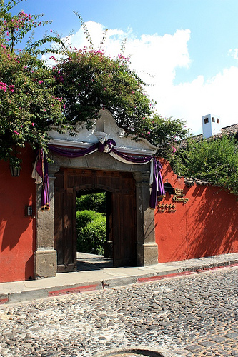 Lent Decorations over Doorways in Antigua Guatemala