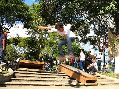 Skateboarding in La Antigua Guatemala's Central Park