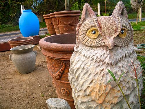 Ceramic Owls Populate Gardens in Antigua Guatemala