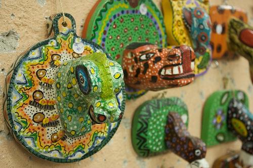 Colorful Guatemalan Wooden Animal Heads