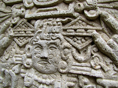 Detail of Mayan Stela Replica by Rudy Girón