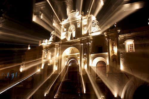 Cathedral Spot Lights Zooming by  Rudy Girón