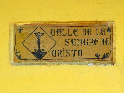 Calle de la Sangre de Cristo Sign by  Rudy Girón
