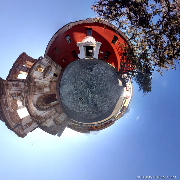 Rudy Giron: Tiny Planets &emdash; The tiny planet of the Compañía de Jesús building in Antigua Guatemala.