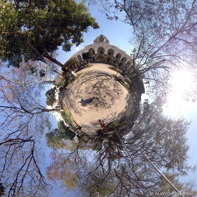 Rudy Giron: Tiny Planets &emdash; The jacaranda tiny planet at Parque Central, Antigua Guatemala