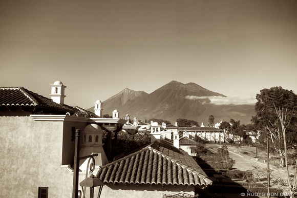 Rudy Giron: AntiguaDailyPhoto.com &emdash; Sepia of Cupolas and Volcanoes around Antigua Guatemala