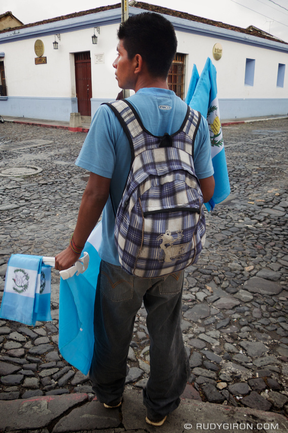 Rudy Giron: AntiguaDailyPhoto.com &emdash; Guatemalan Flag Street Vendor