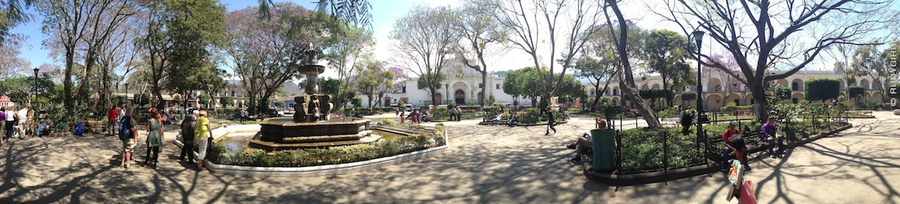 Panoramic Vista of Antigua Guatemala's Main Square