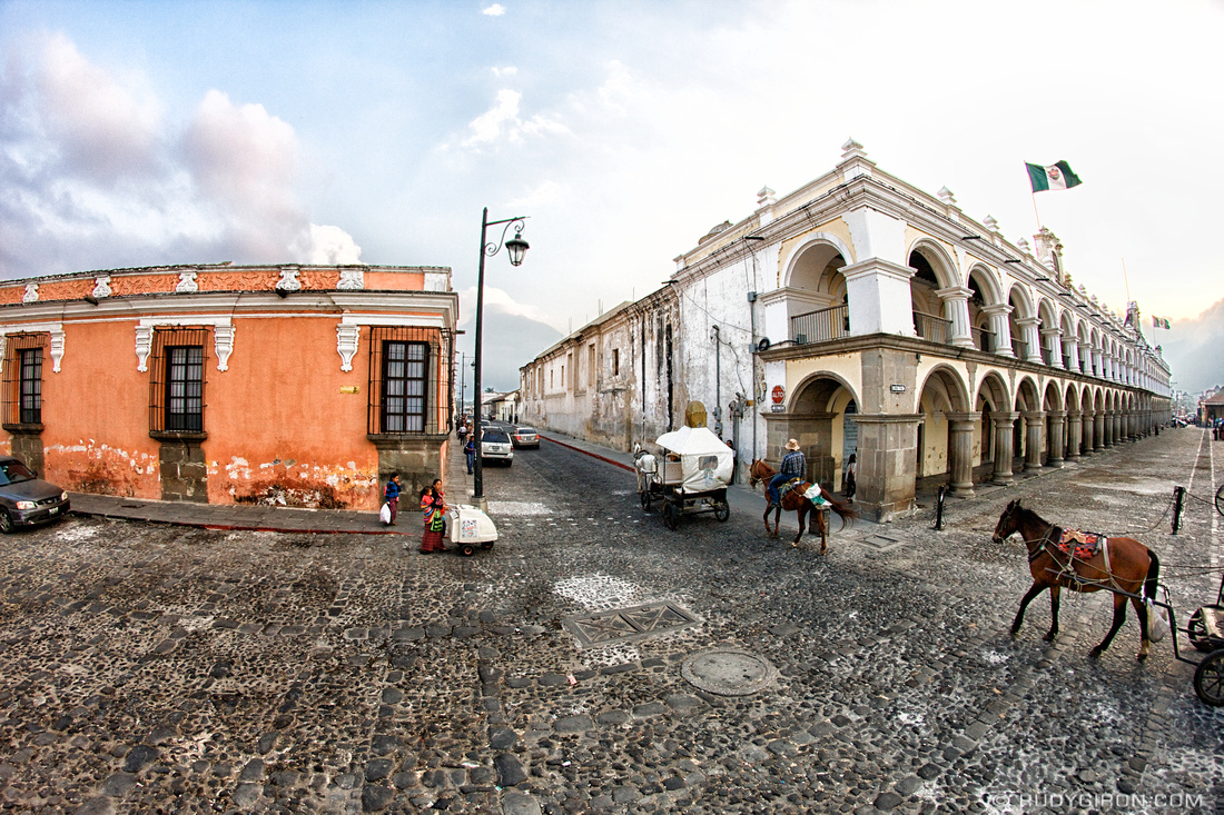 Rudy Giron: AntiguaDailyPhoto.com &emdash; Fish-Eye View of Palacio de Los Capitanes, Antigua Guatemala