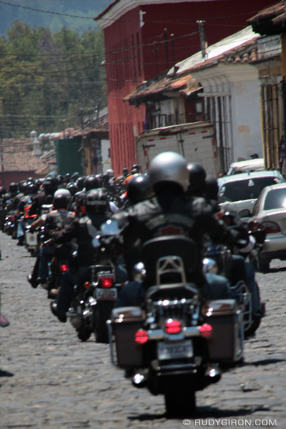 Rudy Giron: AntiguaDailyPhoto.com &emdash; The Central American Harley-Davidson Motorcycle Riders in Antigua Guatemala