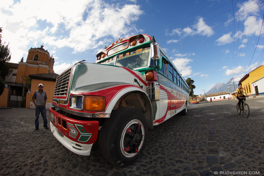 Rudy Giron: AntiguaDailyPhoto.com &emdash; Fish-eye view of a colorful bus