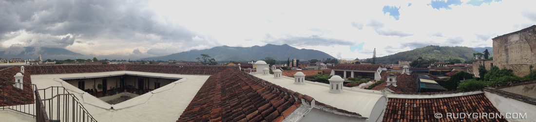 Rudy Giron: AntiguaDailyPhoto.com &emdash; Antigua Guatemala Rooftop Panoramic Vista