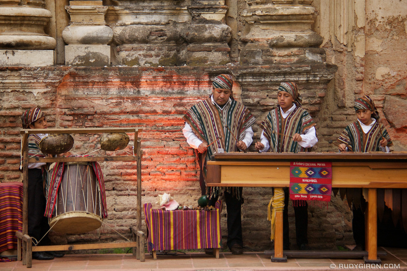 Rudy Giron: Antigua Guatemala &emdash; Father and sons plying marimba music