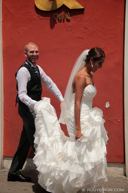 Rudy Giron: Antigua Guatemala &emdash; Bride and Groom Going For Coffee