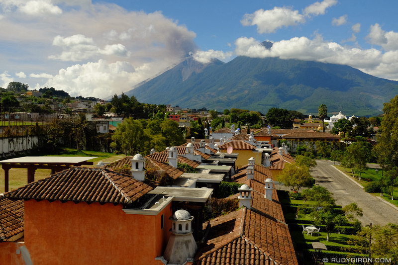 Rudy Giron: Antigua Guatemala &emdash; Panoramic Vista of Fuego Volcano from Ciudad Vieja