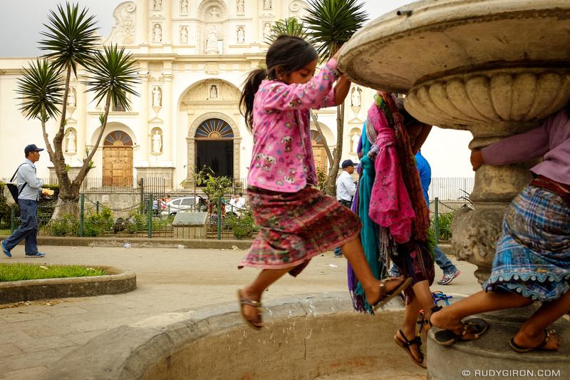 Rudy Giron: Antigua Guatemala &emdash; Mayan girls at the fountain