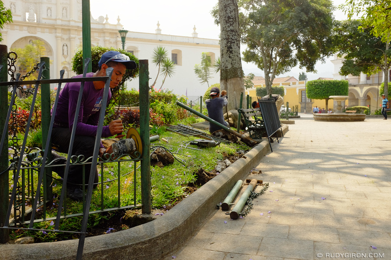 Rudy Giron: Antigua Guatemala &emdash; New fences at Parque Central, Antigua Guatemala