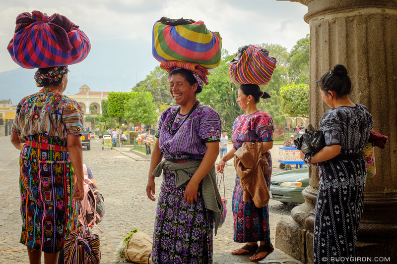 Rudy Giron: Antigua Guatemala &emdash; Maya Women from Zunil at Parque Central, Antigua Guatemala