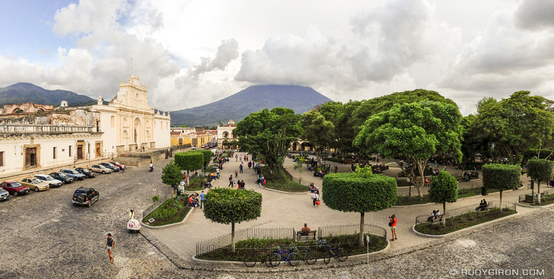 Rudy Giron: Antigua Guatemala &emdash; Panoramic Vista of Parque Central, Antigua Guatemala