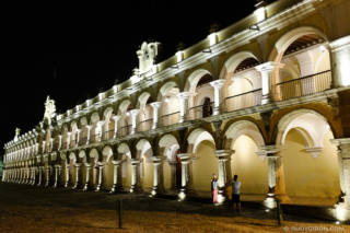 Spot lighting of ruins and monuments in Antigua Guatemala