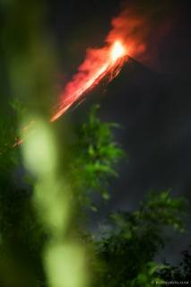 Fuego volcano eruptions at night captured from Antigua Guatemala
