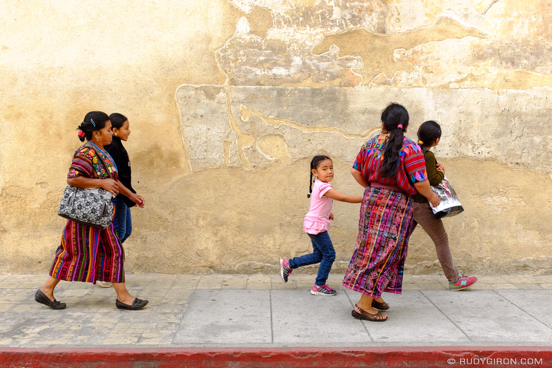 Rudy Giron: Antigua Guatemala &emdash; Mayan family in a hurry