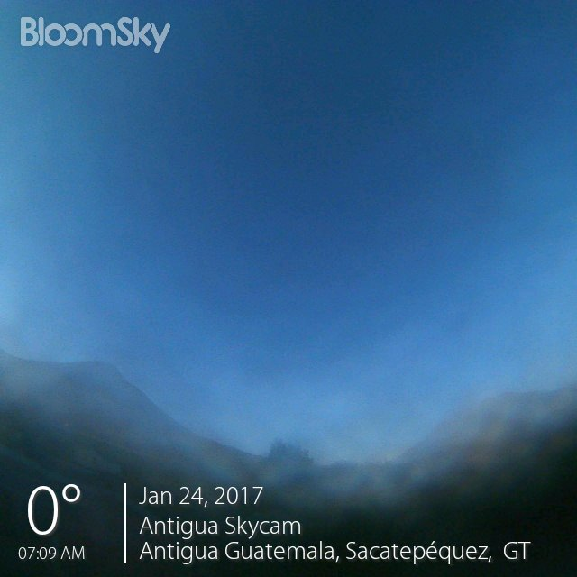 0C / 32F in Antigua Guatemala on January 24