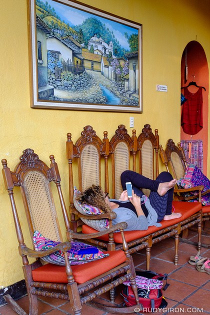 Rudy Giron: Antigua Guatemala &emdash; Woman traveler taking a time off to chill and catch up with emails