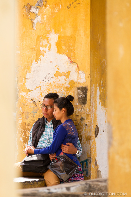 Rudy Giron: Antigua Guatemala &emdash; Couple having a conversation at Pilas de Santa Clara, Antigua Guatemala