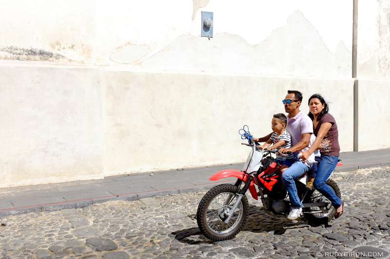 Rudy Giron: Antigua Guatemala &emdash; Motorcycles are the most popular family vehicles in La Antigua