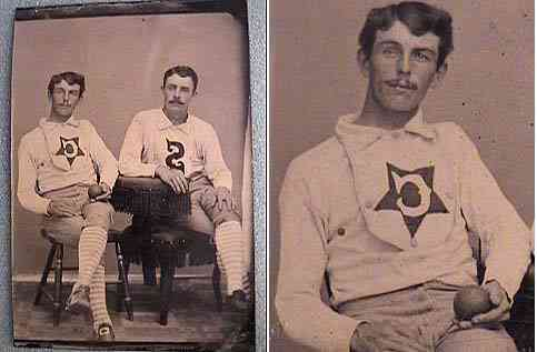 1870s Tintype of two Anonymous Players (detail on right). Notice that the letters on the jerseys are in reverse.