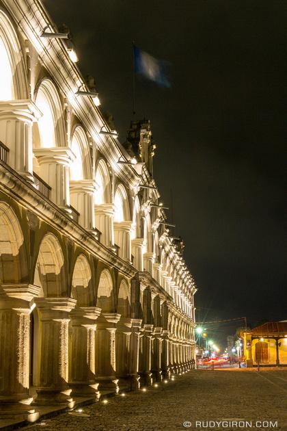 Rudy Giron: Antigua Guatemala &emdash; Night vista of Real Palacio de los Capitanes