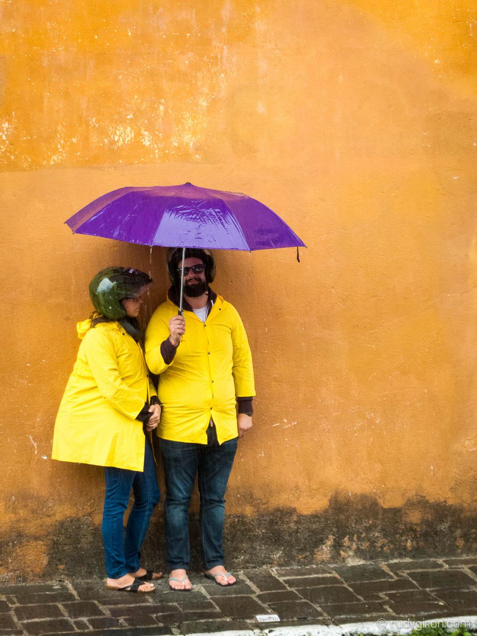 Yellows and Purple umbrella in Antigua Guatemala
