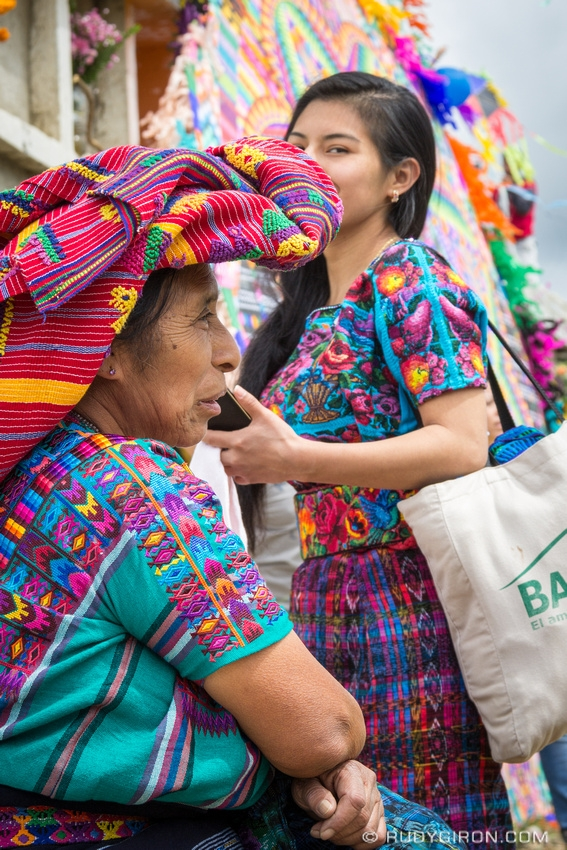 Rudy Giron: Antigua Guatemala &emdash; Two Colorful Generations of Maya Women at Day of the Dead in Santiago Sacatepequez Generations of Maya Women at Day of the Dead in Santiago Sacatepequez